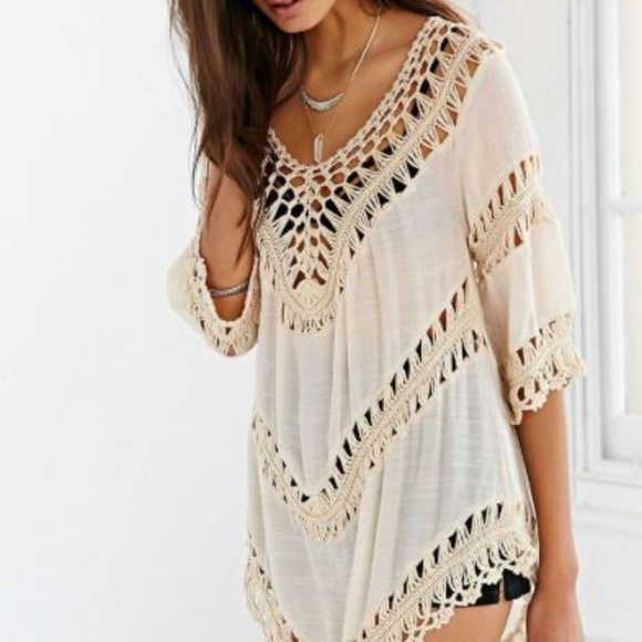 d7cd69aa749 Urban Outfitters Tops | Ecote Crochet Inset Tunic Top | Poshmark